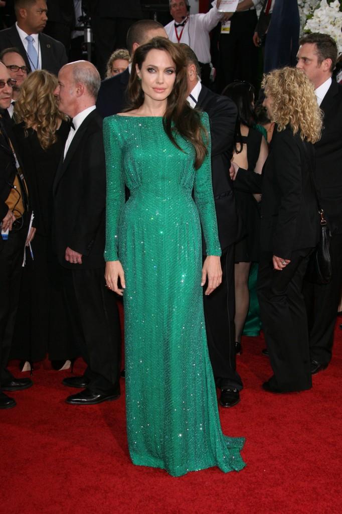 angelina jolie emerald green