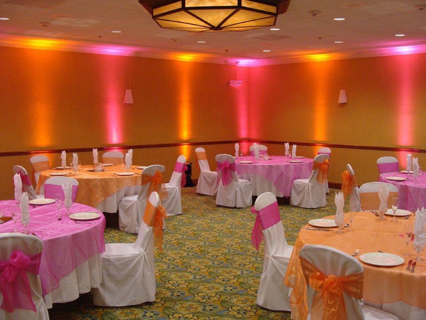 orange and pink wedding decorations